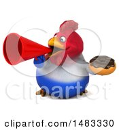 Poster, Art Print Of 3d Chubby French Chicken Holding A Donut And Megaphone On A White Background