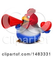 Poster, Art Print Of 3d Chubby French Chicken Holding A Heart And Megaphone On A White Background