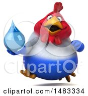 Poster, Art Print Of 3d Chubby French Chicken Holding A Water Drop On A White Background