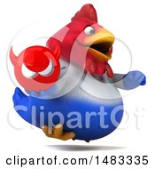 Poster, Art Print Of 3d Chubby French Chicken Holding A Devil On A White Background