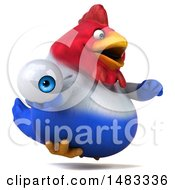 Poster, Art Print Of 3d Chubby French Chicken Holding An Eyeball On A White Background