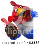 Poster, Art Print Of 3d Chubby French Chicken Holding A Chocolate Egg Around A Sign  On A White Background