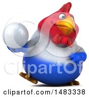 Poster, Art Print Of 3d Chubby French Chicken Holding A Golf Ball On A White Background