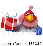 Poster, Art Print Of 3d Chubby French Chicken Holding A Gift Over A Sign  On A White Background