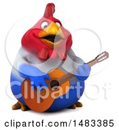 3d Chubby French Chicken Playing A Guitar On A White Background