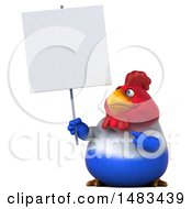 Clipart Of A 3d Chubby French Chicken Holding A Blank Sign On A White Background Royalty Free Illustration by Julos