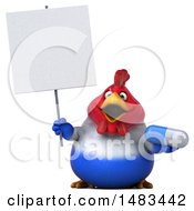 Clipart Of A 3d Chubby French Chicken Holding A Pill On A White Background Royalty Free Illustration by Julos
