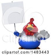 Clipart Of A 3d Chubby French Chicken Holding A  On A White Background Royalty Free Illustration by Julos