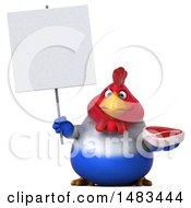 Clipart Of A 3d Chubby French Chicken Holding A Steak On A White Background Royalty Free Illustration by Julos