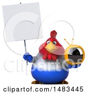 Clipart Of A 3d Chubby French Chicken Holding A Tv On A White Background Royalty Free Illustration by Julos
