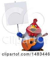 Poster, Art Print Of 3d Chubby French Chicken Holding A Guitar On A White Background