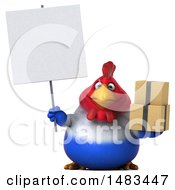 Clipart Of A 3d Chubby French Chicken Holding Boxes On A White Background Royalty Free Illustration by Julos