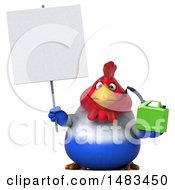 Clipart Of A 3d Chubby French Chicken Holding A Gas Can On A White Background Royalty Free Illustration by Julos