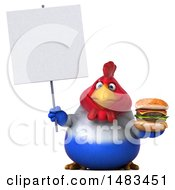 Clipart Of A 3d Chubby French Chicken Holding A Burger And Sign On A White Background Royalty Free Illustration by Julos