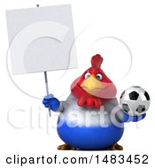 Clipart Of A 3d Chubby French Chicken Holding A Soccer Ball And Sign On A White Background Royalty Free Illustration by Julos