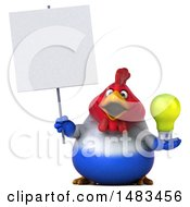 Clipart Of A 3d Chubby French Chicken On A White Background Royalty Free Illustration by Julos