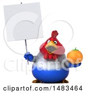 Clipart Of A 3d Chubby French Chicken Holding An Orange On A White Background Royalty Free Illustration by Julos