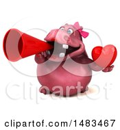 Poster, Art Print Of 3d Pink Henrietta Hippo Character Holding A Heart On A White Background
