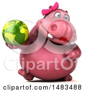 3d Pink Henrietta Hippo Character Holding A Globe On A White Background
