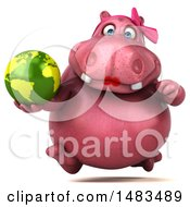 Clipart Of A 3d Pink Henrietta Hippo Character Holding A Globe On A White Background Royalty Free Illustration