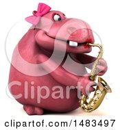 Poster, Art Print Of 3d Pink Henrietta Hippo Character Playing A Trumpet On A White Background