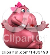 Clipart Of A 3d Pink Henrietta Hippo Character Meditating On A White Background Royalty Free Illustration