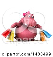 3d Pink Henrietta Hippo Character Carrying Shopping Bags On A White Background