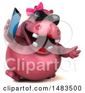 3d Pink Henrietta Hippo Character Gabbing On A Smart Phone On A White Background