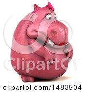 Clipart Of A 3d Pink Henrietta Hippo Character Feeling Depressed On A White Background Royalty Free Illustration