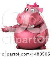 Clipart Of A 3d Pink Henrietta Hippo Character Presenting On A White Background Royalty Free Illustration