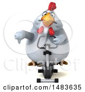 3d Chubby White Chicken On A White Background
