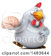 3d Chubby White Chicken Holding A Brain On A White Background