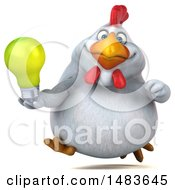 3d Chubby White Chicken Holding A Light Bulb On A White Background