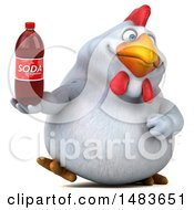 3d Chubby White Chicken Holding A Soda Bottle On A White Background