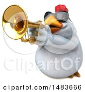 Poster, Art Print Of 3d Chubby White Chicken On A White Background