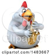 Poster, Art Print Of 3d Chubby White Chicken Playing A Saxophone On A White Background