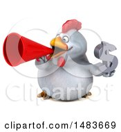 3d Chubby White Chicken Holding A Dollar Symbol On A White Background