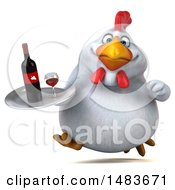 3d Chubby White Chicken Holding A Wine Tray On A White Background