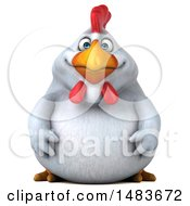 Clipart Of A 3d Chubby White Chicken On A White Background Royalty Free Illustration