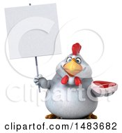 Clipart Of A 3d Chubby White Chicken On A White Background Royalty Free Illustration by Julos