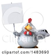 Clipart Of A 3d Chubby White Chicken Holding A Plane On A White Background Royalty Free Illustration by Julos