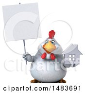Clipart Of A 3d Chubby White Chicken Holding A House On A White Background Royalty Free Illustration by Julos