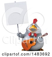 Poster, Art Print Of 3d Chubby White Chicken Holding A Guitar And Sign On A White Background