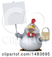 Clipart Of A 3d Chubby White Chicken Holding A Padlock On A White Background Royalty Free Illustration by Julos