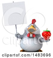 Clipart Of A 3d Chubby White Chicken Holding A Strawberry On A White Background Royalty Free Illustration by Julos