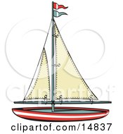 Poster, Art Print Of Toy Sailboat With Flags