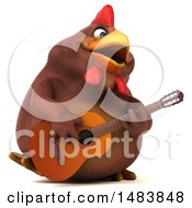3d Chubby Brown Chicken Playing A Guitar On A White Background