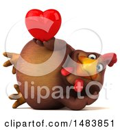 Poster, Art Print Of 3d Chubby Brown Chicken Holding A Heart On A White Background