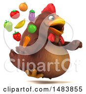 Clipart Of A 3d Chubby Brown Chicken Holding Produce On A White Background Royalty Free Illustration