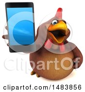 3d Chubby Brown Chicken Holding Up A Smart Phone On A White Background